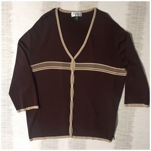 Casual corner woman 3X 3/4 slv brown tan sweater